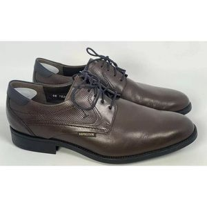 Mephisto Black Leather Mens Lace-Up Oxfords